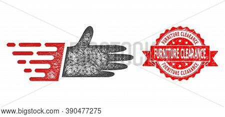 Net Hand Palm Icon, And Furniture Clearance Corroded Ribbon Stamp Seal. Red Stamp Seal Includes Furn