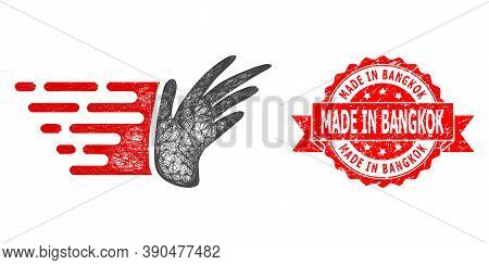 Net Hand Icon, And Made In Bangkok Scratched Ribbon Seal. Red Stamp Seal Contains Made In Bangkok Te