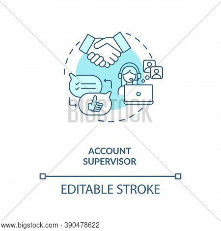 Account Supervisor Concept Icon. Account Management Idea Thin Line Illustration. Industry Trends Ana