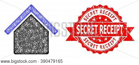 Wire Frame House Icon, And Secret Receipt Corroded Ribbon Seal Print. Red Seal Has Secret Receipt Ca