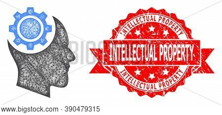Net Human Intellect Gear Icon, And Intellectual Property Scratched Ribbon Stamp Seal. Red Stamp Incl