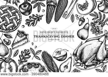 Design With Black And White Pumpkin, Fork, Knife, Pears, Turkey, Pumpkin Pie, Apple Pie, Corn, Apple