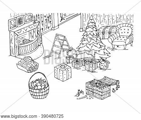 Christmas Coloring Book With Fireplace, Toys, Christmas Tree, Holiday Decorations, Furniture In The