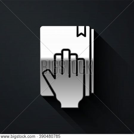 Silver Oath On The Holy Bible Icon Isolated On Black Background. The Procedure In Court. Truth And T