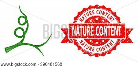 Net Liana Sprout Icon, And Nature Content Unclean Ribbon Seal. Red Seal Contains Nature Content Tag