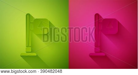 Paper Cut Road Traffic Sign. Signpost Icon Isolated On Green And Pink Background. Pointer Symbol. St