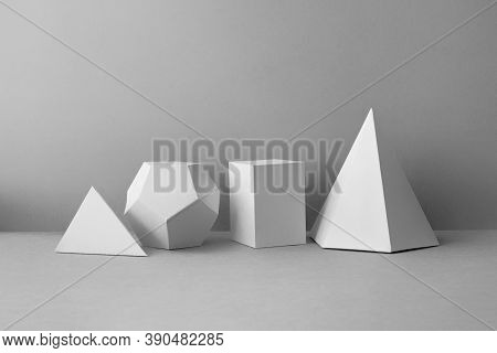 Platonic Solids Figures Geometry. Abstract White Color Geometrical Figures Still Life Composition. T