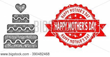 Net Marriage Cake Icon, And Happy Mothers Day Dirty Ribbon Stamp Seal. Red Seal Contains Happy Mothe