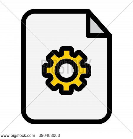 Document With Gear Symbol Icon. File Settings, Document Options Sign. File Preferences Sign.