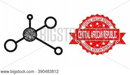 Wire Frame Masternode Icon, And Central African Republic Corroded Ribbon Stamp Seal. Red Stamp Seal