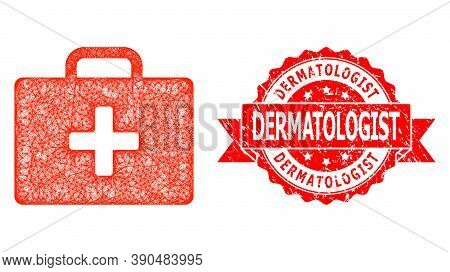 Wire Frame Medical Kit Case Icon, And Dermatologist Corroded Ribbon Seal Print. Red Stamp Seal Has D