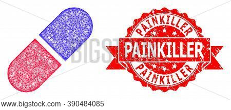 Net Medication Pill Icon, And Painkiller Scratched Ribbon Stamp Seal. Red Stamp Contains Painkiller