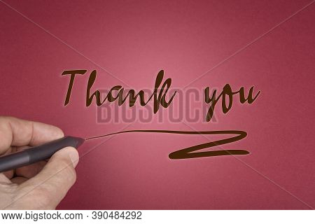 Thank You Sign On A Wooden Circles On A Red