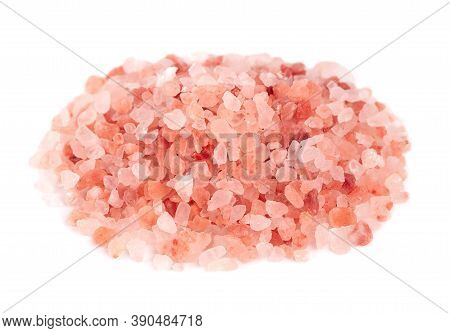 Himalayan Pink Salt Isolated On White Background. Himalayan Pink Salt In Crystals.