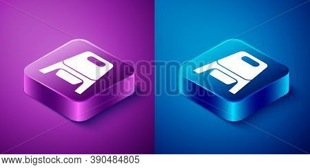 Isometric Baby Potty Icon Isolated On Blue And Purple Background. Chamber Pot. Square Button. Vector