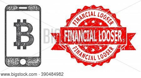 Wire Frame Mobile Bitcoin Bank Icon, And Financial Looser Grunge Ribbon Seal. Red Stamp Seal Include