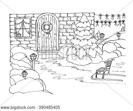Coloring With Christmas Decorations On The Christmas Tree, Sledges, A Wreath On The Door, Snowdrifts