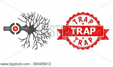 Network Neuron Digital Interface Icon, And Trap Scratched Ribbon Stamp Seal. Red Stamp Seal Contains