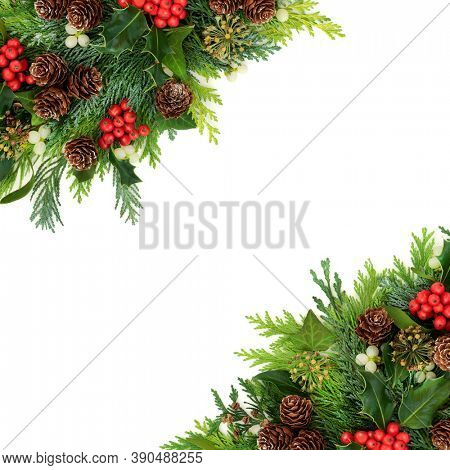 Beautiful winter Christmas & New Year border composition with holly, cedar cypress fir, mistletoe, pine cones & ivy on white background. Natural decoration for the holiday season. Flat lay copy space.