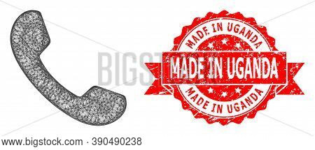 Net Phone Icon, And Made In Uganda Unclean Ribbon Seal. Red Seal Has Made In Uganda Tag Inside Ribbo