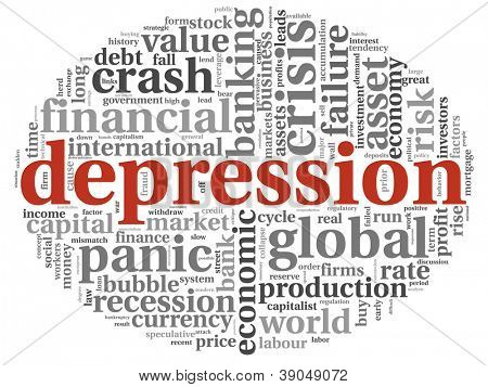 Depression and crisis concept in text graphics on white background