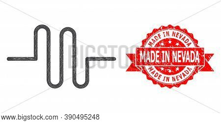 Net Pipeline Icon, And Made In Nevada Rubber Ribbon Stamp. Red Stamp Seal Has Made In Nevada Title I