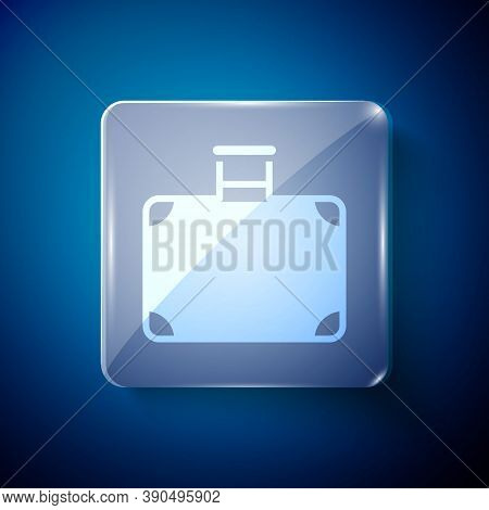 White Suitcase For Travel Icon Isolated On Blue Background. Traveling Baggage Sign. Travel Luggage I