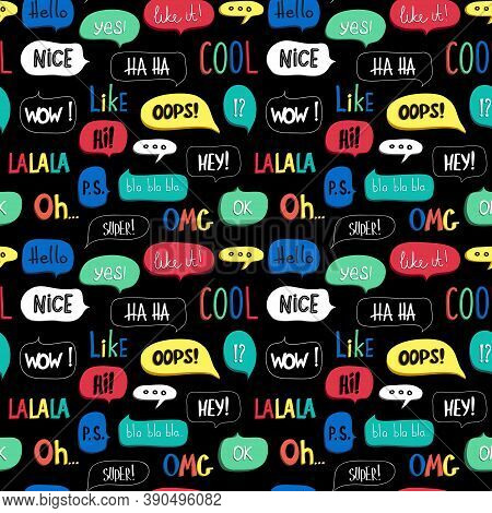 Bright Seamless Pattern With Colorful Speech Bubble, Words And Symbols. Wallpaper For Teenagers. Fas