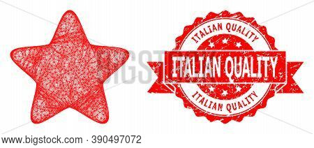 Network Red Star Icon, And Italian Quality Rubber Ribbon Seal Imitation. Red Stamp Seal Has Italian