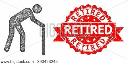 Wire Frame Retired Person Icon, And Retired Rubber Ribbon Seal Print. Red Stamp Seal Contains Retire