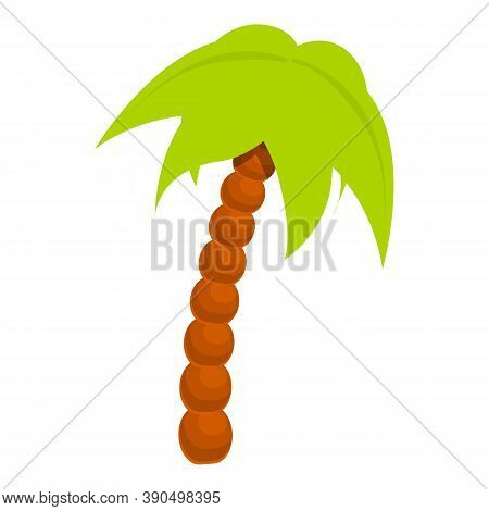 Lonely Palm Tree Icon. Cartoon Of Lonely Palm Tree Vector Icon For Web Design Isolated On White Back