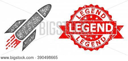 Network Rocket Icon, And Legend Grunge Ribbon Stamp. Red Stamp Includes Legend Title Inside Ribbon.g