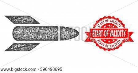 Net Rocket Icon, And Start Of Validity Rubber Ribbon Seal Print. Red Stamp Seal Contains Start Of Va