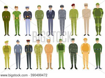 Military Uniform Icons Set. Cartoon Set Of Military Uniform Vector Icons For Web Design