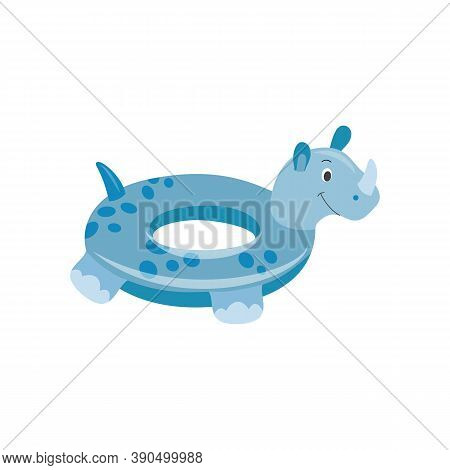 Swim Floating Ring In Shape Of Rhinoceros Flat Vector Illustration Isolated.
