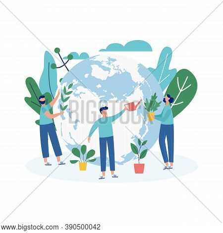 Ecological Banner With Ecologists Planting Trees, Vector Illustration Isolated.