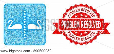 Net Separate Swans Icon, And Problem Resolved Dirty Ribbon Stamp Seal. Red Stamp Includes Problem Re