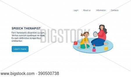 Site Interface For Childrens Speech Therapist Flat Vector Illustration Isolated.