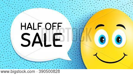 Half Off Sale. Easter Egg With Smile Face. Special Offer Price Sign. Advertising Discounts Symbol. E