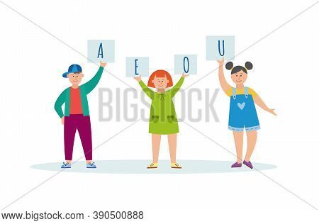 Children Learn Letters Or Sounds Pronunciation Flat Vector Illustration Isolated.