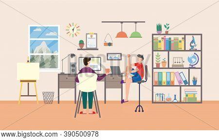 Two Teenagers Sitting In Study Room And Studying, Flat Vector Illustration.