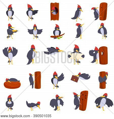 Woodpecker Icons Set. Cartoon Set Of Woodpecker Vector Icons For Web Design