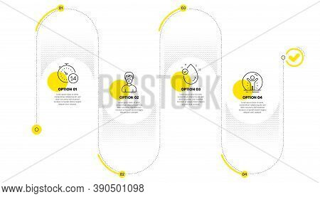 Medical Mask, Vitamin E And Quarantine Line Icons Set. Timeline Process Infograph. Recovered Person
