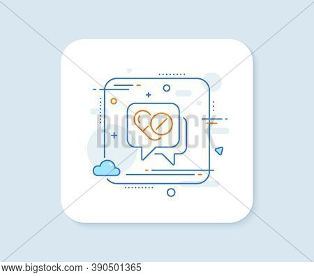 Medical Drugs Line Icon. Abstract Square Vector Button. Medicine Pills Sign. Pharmacy Medication Sym