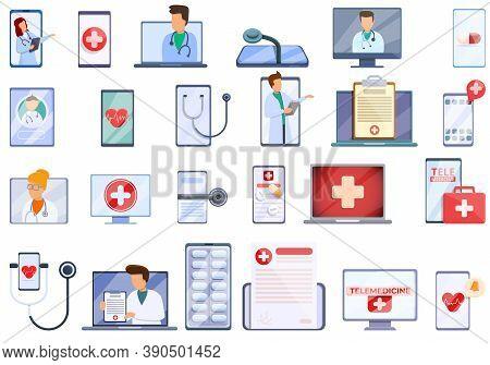 Telemedicine Icons Set. Cartoon Set Of Telemedicine Vector Icons For Web Design