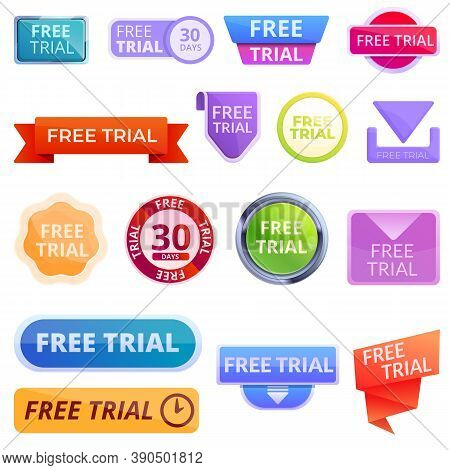 Free Trial Version Icons Set. Cartoon Set Of Free Trial Version Vector Icons For Web Design