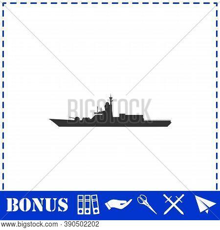 Warship Icon Flat. Simple Vector Symbol And Bonus Icon