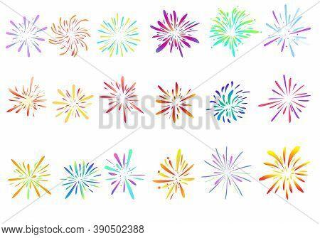 Firework Icons Set. Cartoon Set Of Firework Vector Icons For Web Design
