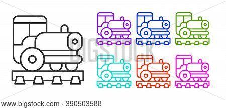 Black Line Vintage Locomotive Icon Isolated On White Background. Steam Locomotive. Set Icons Colorfu