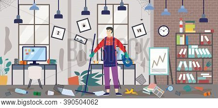 Janitor Or Janitor Man On Dirty Office Background, Flat Vector Illustration.